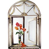 Faux Window Mirror Screen with Tulips and Tassel