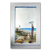 Faux Window Mirror Screen with Seagull