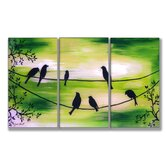 Birds On Wires Triptych Wall Art