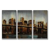 Lights on Bridge Triptych Wall Art