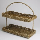 Baskets Scalloped Seagrass Two-Tier Tray