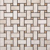 Tumbled Travertine Basketweave Mosaic in Ivory