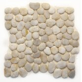 "Decorative Pebbles 12"" x 12"" Interlocking Mesh Tile in Honed White Onyx"