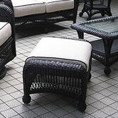 Ebony &amp; Ivory Wicker Ottoman with Cushion
