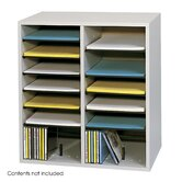 Small Wood Adjustable-Compartment Literature Organizer