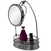 Cosmetic Basket Organizer with Mirror in Satin Nickel