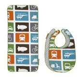 Transportation Bib and Burp Cloth Set