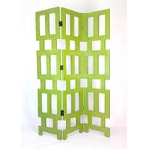 Abertson 3 Panel Room Divider in Distressed Green