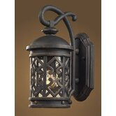 Tuscany Coast  Outdoor Wall Lantern in Weathered Charcoal and Clear Seeded Glass