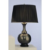 Harriet Table Lamp in Deep Patina Bronze with Black Silk Fabric Shade