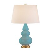 Small Triple Gourd Accent Lamp in Egg Blue with Brass Base