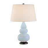 Small Triple Gourd Accent Lamp in Baby Blue with Bronze Base
