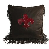 Cheyenne Faux Tooled Fleur De Lis Pillow in Red