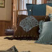 Bella Vista Pillow Brown Faux Suede in Rustic Blue