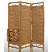 Cascading Palm Bark Folding Room Divider in Tan