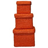 Straw Box with Lining in Orange (Set of 3)