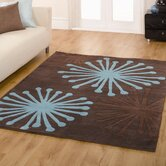 Infinite Starburst Chocolate / Teal Contemporary Rug/Runner
