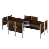 Pro-Biz Four L-Desk Workstation With 4 Melamine Privacy Panels