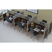 Pro-Biz Six-Straight Desk Workstation With 4 Melamine Privacy Panels
