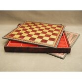 "14"" Pressed Leather Chest Chess Board in Black / Burgundy"