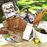 Huntsman Basket for Four with Coffee Set and Blanket in Santa Cruz