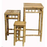 3 Piece Square Nesting Bamboo Stool Set