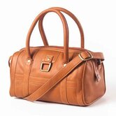 Leather Buckle Barrel Handbag