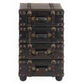 Urban Trends Wood Leather Side Chest with Dark Brown Tone