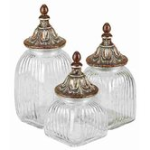 Metro Dancing Lights Polystone Glass Canister (Set of 3)