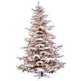 Flocked Sierra Fir 8.5' Artificial Christmas Tree with Clear Lights