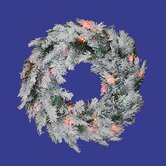 "30"" Prelit Flocked Alaskan Wreath"