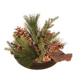 Floral Artificial Potted Mixed Pine Branches and Brown Cones in Green