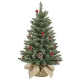 Frosted Pine Cone Berry Table Top Tree with 112 Tips