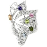 Silver-Tone Multicolored Cubic Zirconia Butterfly Brooch Pin