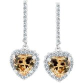 Silver-Tone Champagne Heart Pave Cubiz Zirconia Drop Earrings