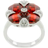 Silver-Tone &quot;Garnet Artisan&quot; Red Cubic Zirconia Flower Ring