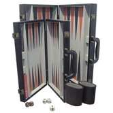 Backgammon Game Set with Black Leatherette Case