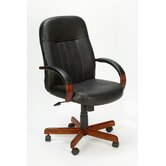 High-Back Executive Chair with Hardwood Arms