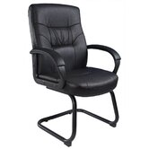 Leather Guest Chair with Cantilever Sled Base