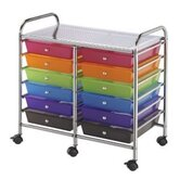 Blue Hills Studio Storage Cart with Twelve Multicolor Drawers