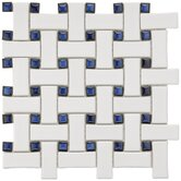Basket Weave 9-3/4&quot; x 9-3/4&quot; Porcelain Mosaic in White and Blue