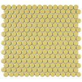 "Penny 12"" x 12-1/4"" Porcelain Mosaic in Vintage Yellow"