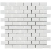 "Retro 11-3/4"" x 11-3/4"" Glazed Porcelain Subway Mosaic in White"