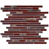 "Sierra 11-3/4"" x 12"" Glass and Stone Piano Mosaic in Bordeaux"