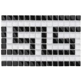 "Sierra 6"" x 9"" Polished Greek Key Glass Border Mosaic in Black and White"