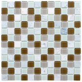 "Chroma 11-1/2"" x 11-1/2"" Square Glass and Stone Mosaic Wall Tile in Manzanilla"