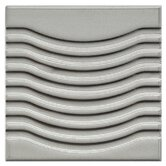 "Mercury Metal 4"" x 4"" Glazed Wave Porcelain Wall Tile in Silver"
