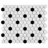 "Retro 7/8"" x 7/8"" Glazed Porcelain Hexagon Mosaic in White with Black Dot"