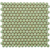 "Penny 3/4"" x 3/4"" Glazed Porcelain Mosaic in Moss Green"