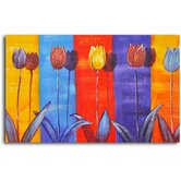 "Hand Painted ""Tulips on Color"" Oil Canvas Art"